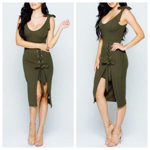 Dresses & Skirts - Olive Lace-up Dress